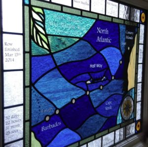 Stained glass map in Bray, Berkshire.