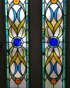 Art Nouveau inspired curvy shapes in shades of blue, teal and green for house in Staines-upon-Thames, Surrey.