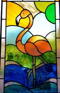 A striking flamingo design for landing window in Ashford, Middlesex.