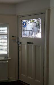 Charles Rennie Mackintosh inspired door panel for house in Maidenhead.