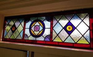 Colourful geometric fanlight for house in Richmond, Surrey.