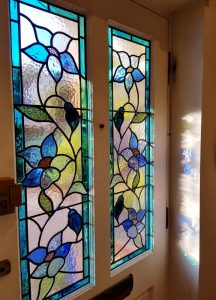 Organic design, blue climbing flowers for Victorian house in Weybridge, Surrey.